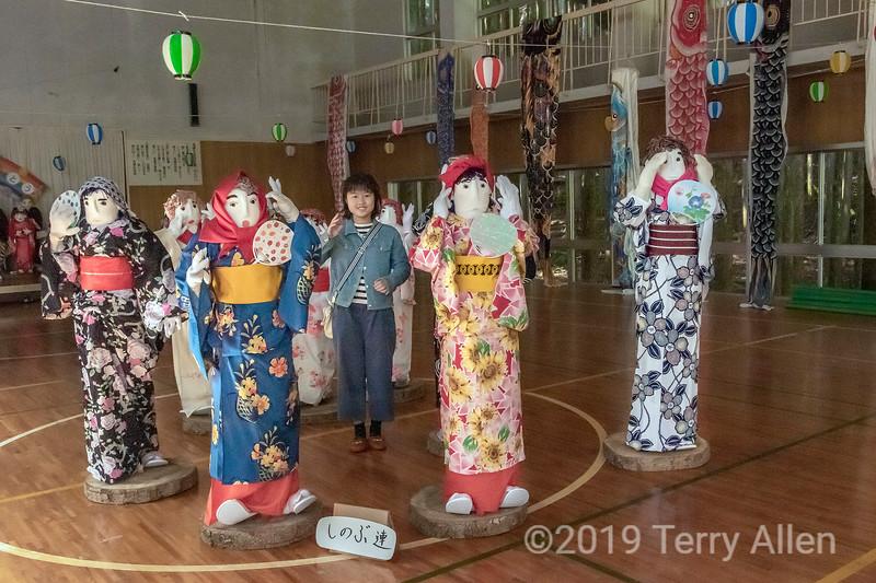Kakashi doll party in the school gym, Nagoro Doll Village, Iya Valley, Japan
