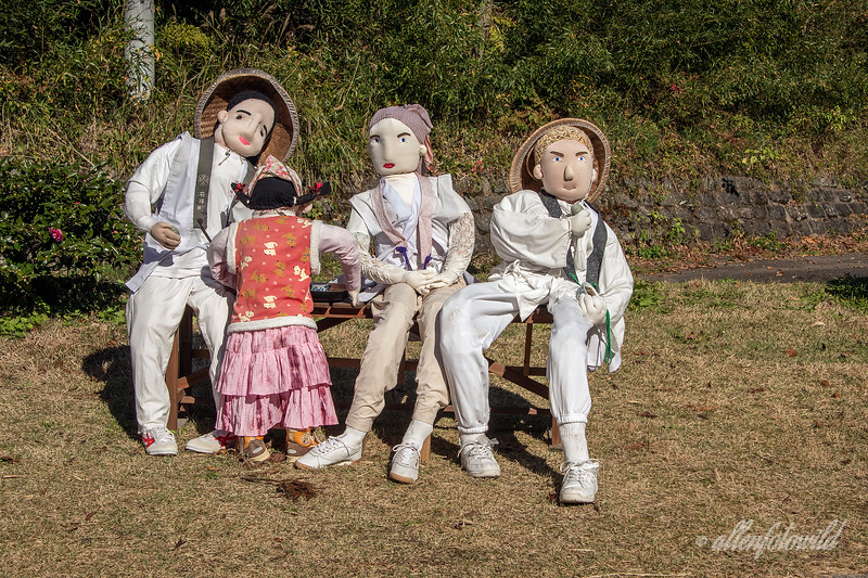 Kakashi dolls depicting the Shikoku Island pilgrims (O-Henro-san), Kamiyama, Japan