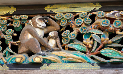 Sansaru Panel on the Shinkyo (Sacred Horse Stable). Mother monkey looking into the future of her child