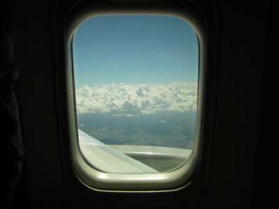 From the window of the Delta Airplane. John had a long trip over 10 hours from Seattle. Felt like we dozed, and ate most of the trip. We scored good seats by ourselves near the wing!
