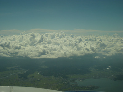 Cool clouds on the approach to Kansai Airport in Osaka, Japan