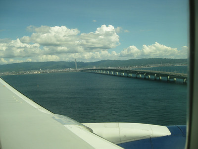 The long bridge is the only way to and from the airport by car.