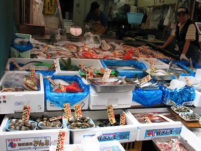 At the Tsukiji fish market, Tokyo