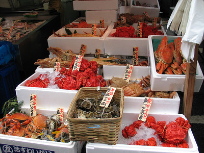 Crabs in the Tsukiji fish market, Tokyo