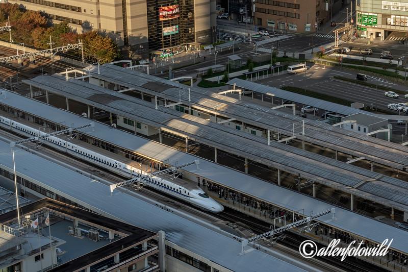 Morning commuters boarding the shinkansen, Shizuoka Station, Japan