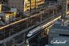 Railway lines, electrical wires and shinkansen, Shizuoka, Japan