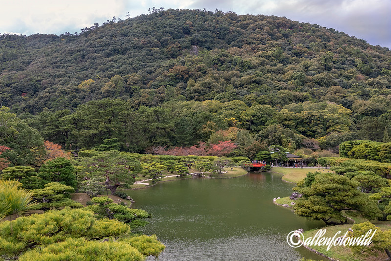 Fuyoho Hill and Bairin-kyo bridge in the fall, Ritsurin Garden, Takamatsu, Japan
