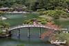 Ritsurin Garden in the late fall with Geishun-kyo Bridge, Takamatsu, Japan