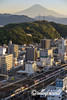 Early morning with Mt Fuji and railway lines with freight train, Shizuoka, Japan