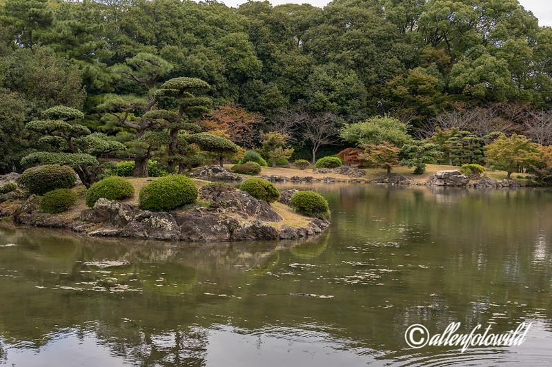 Gun'ochi pond and island, Ritsurin Garden, Takamatsu, Japan