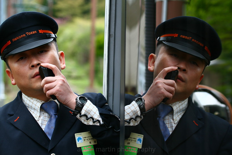 Hakone Yamoto train conductor. Japan