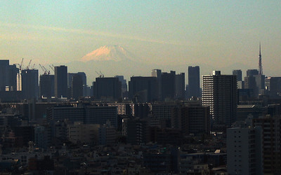 On clear days it is possible to see Mt. Fuji from Tokyo