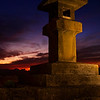 Stone lantern at sunset, Enoshima