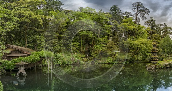 Kanazawa Kenruku En Park Plants Trees Cloudy Sky Royalty Free Stock Photos - 024017 - 16-05-2016 - 13220x6994 Pixel