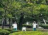 Two Gardeners, Resting, Kenrokuen Gardenm, Kanasawa, Japan
