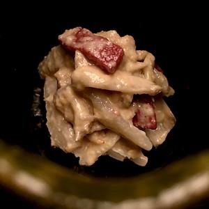 止肴 Tomezakana - Potato sprouts and konyaku in sesame dressing