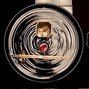 先付 Appetizer - crab, shiitake mushroom in yuba bean paste, and sake made from quince 花梨
