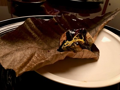 焼き物 Yakimono - Grilled oyster and fried tofu with miso served on hobo (lotus leaf)