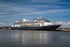The Holland America cruise sjhip Volendam in the port of Kushiro Subprefecture, Hokkaido, Japan.