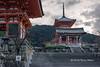 Early morning at the Nio-mon (Main Gate, left) and Sai-mon (West Gate, center), Kiyomizudera Buddhist temple, Kyoto, Japan