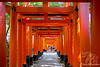 Fushimi Inari~Torii Gates with people walking toward the beginning of the trek