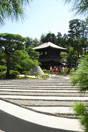 "Ginkaku-ji - Silver Pavilion - a Zen temple at the foot of Kyoto's Higashiyama (""eastern mountains""), built in the style of the Golden Pavilion with a famous rock and sand garden. The temple is formally known as Tozan Jishoji."