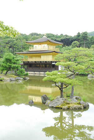 Golden Pavilion (Kinkaku) - is a Zen temple formally known as Rokuonji and surround by beautiful Japanese gardens. The temple is literally covered in gold - gold leaf and probably the most famous Japanese temples.