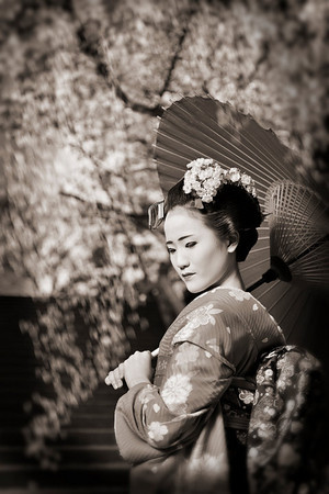 Caught in time... dressed as a MAIKO and posing for the camera on a lovely spring day during the Hanami season at Kiyomizu-dera, Kyoto 2010.