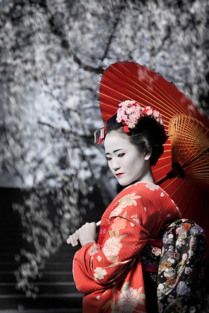 This photo was taken with a model dressed in a kimono and geisha make-up from a studio that offers this kind of service. The photo was taken in color and then processed in PSE(layers) to separate the model's color from the background color.