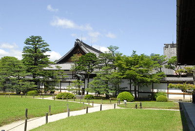 "The palace building, now known as Ninomaru (""secondary castle""), was completed in 1603 and enlarged by Ieyasu's grandson Iemitsu. It survives in its original form and is famous for its Momoyama architecture, decorated sliding doors and floors that squeak like nightingales when someone walks on them (a security measure against intruders)."