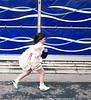 School Girl, Running down the Street, Kyoto, Japan