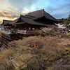 Kiyomizu-dera Temple at sunset during Sakura season