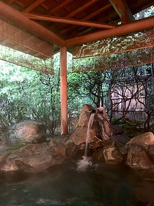 露天風呂 outdoor bath surrounded by bamboo forest
