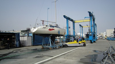 time to tow the boat to the cleaning station