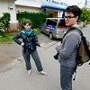 Serious discussions outside our Mount Fuji Hostel