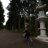 Cycling through temple grounds in Kawaguchiko