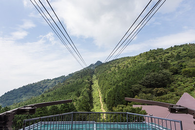 Looking up to Mt.Tsukuba from the bottom station of the ropeway at 530 m.