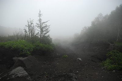 Walking through the clouds as we begin our accent up Mt. Fuji from the 5th station.