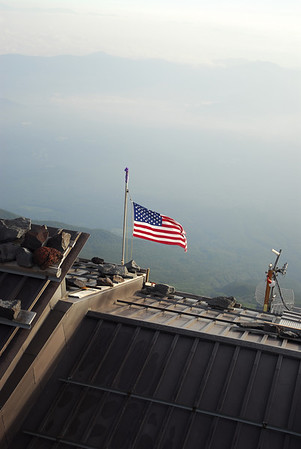"I was amazed when I was able to see ""Old Glory"" waving in the winds high up in the sky near the top(3,600m) of Mt Fuji!"