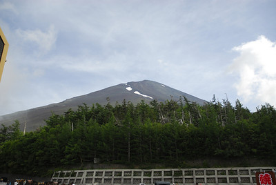 A preview of what we are about to take on... looking up at the summit of Mt Fuji from the 5th station.