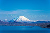 Snow capped Mt Yotel from Uchiura Bay, Muroran, Hokkaido, Japan.