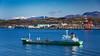 Shipping in Uchiura Bay and Mt. Yotel, Muroran, Hokkaido, Japan.