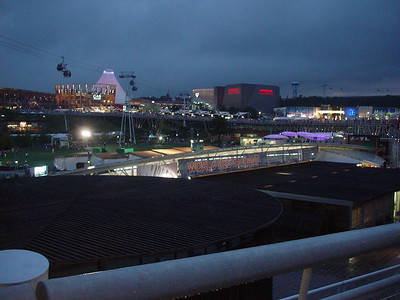 Wide angle view overlooking the central area of the Aichi Expo from the boardwalk.