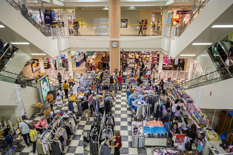 Interior of a shopping center in Naha, Okinawa Prefecture, Okinawa, Japan.