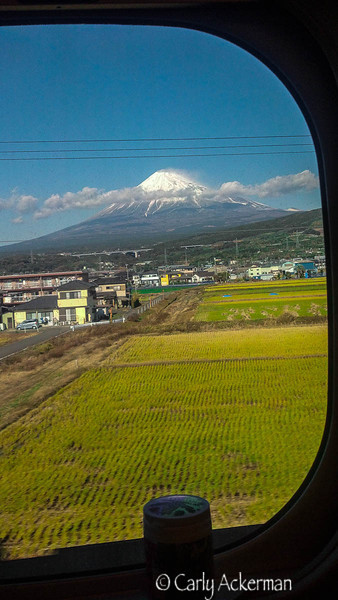 View of Mt. Fuji from the Shinkansen as a journey ends