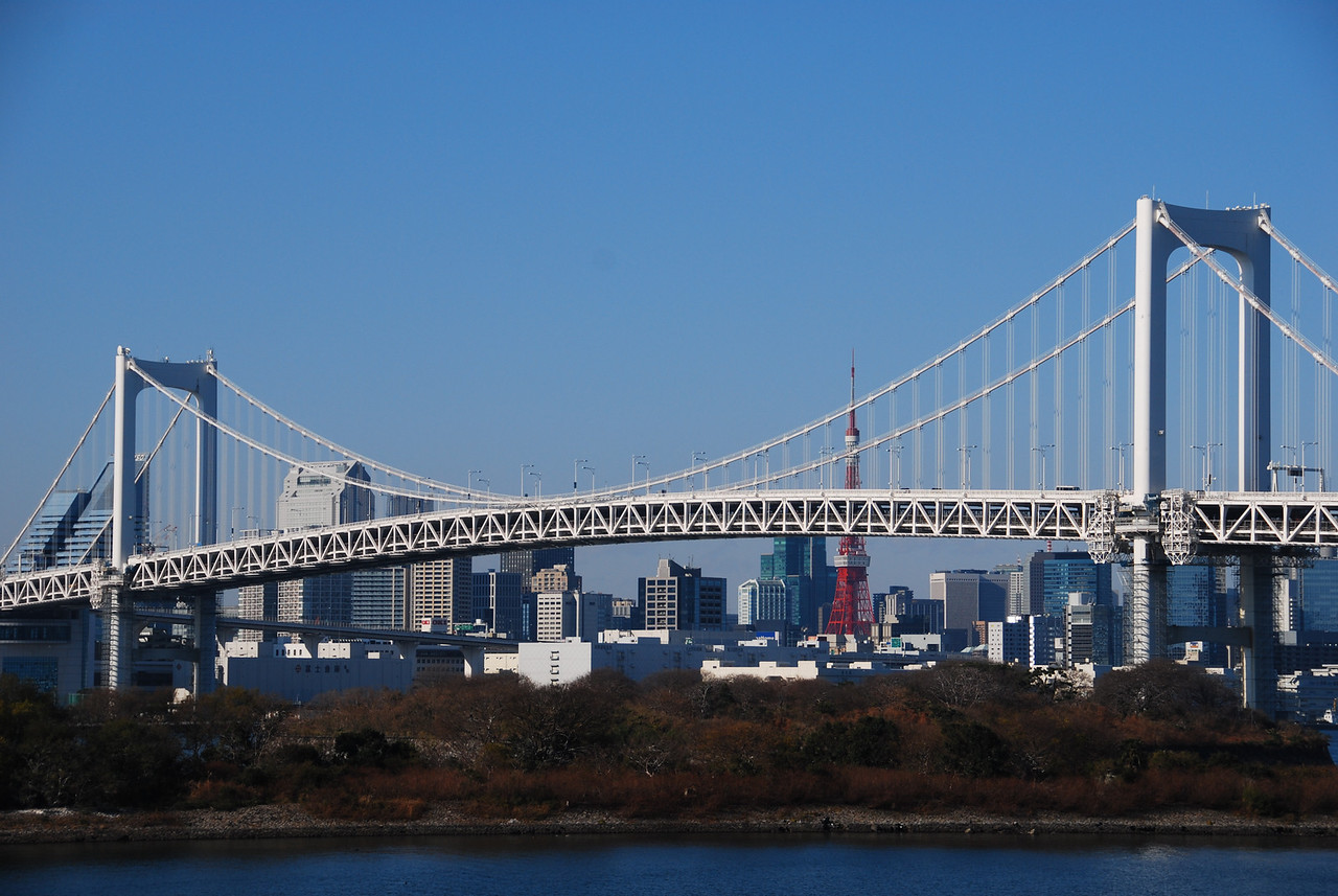 Rainbow Bridge with Tokyo Tower visible in the background  (C) 2008 Brian Neal