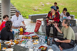 A Japanese family having a picnic at the Okinawa Prefectural Peace Memorial Museum in Itoman, Okinawa, Japan.