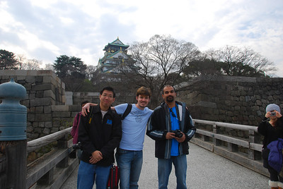 Henry, Brian, and Amol at Osaka Castle
