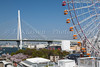 The ferris wheel and Tempozan Bridge in Osaka, Japan.
