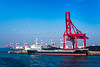 Cargo cranes and an ore carrier ship at the port of Osaka, Japan.